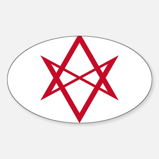 Red Unicursal Hexagram Oval Decal