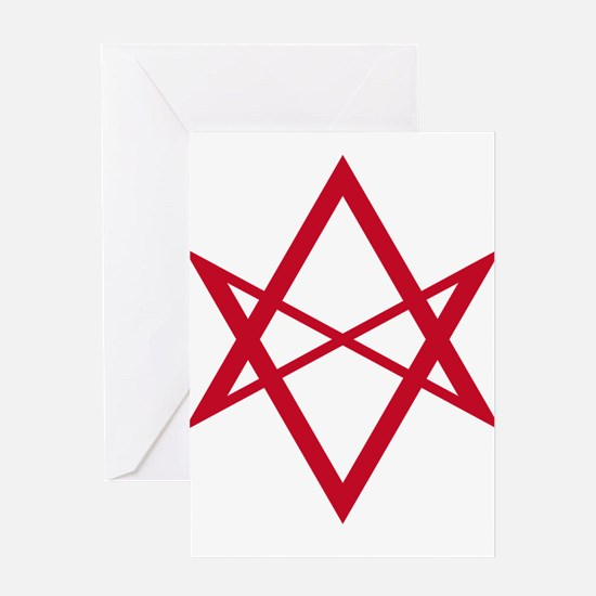 Red Unicursal Hexagram Greeting Card