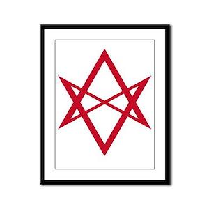 Red Unicursal Hexagram Framed Panel Print
