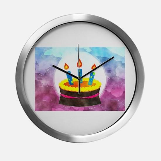 Watercolor Birthday Cake Modern Wall Clock