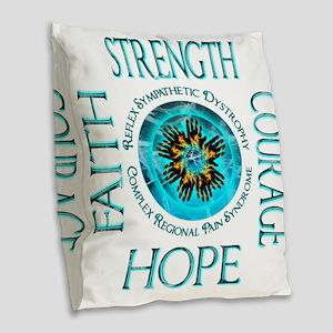 CRPS RSD Faith Courage Strengt Burlap Throw Pillow