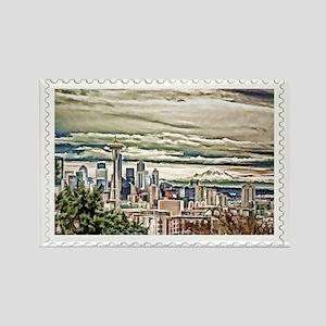 Seattle Skyline in Fog and Rain S Rectangle Magnet