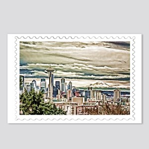Seattle Skyline in Fog an Postcards (Package of 8)