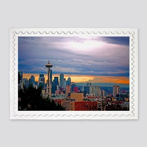 Seattle Skyline at Sunset Stamp 5'x7'Area Rug