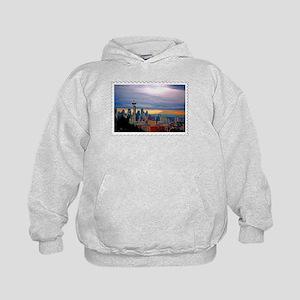 Seattle Skyline at Sunset Stamp Kids Hoodie