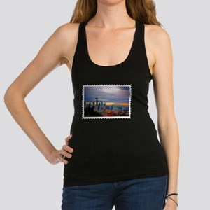 Seattle Skyline at Sunset Stamp Racerback Tank Top