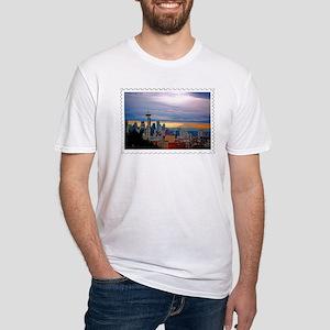 Seattle Skyline at Sunset Stamp T-Shirt