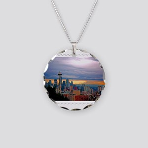 Seattle Skyline at Sunset St Necklace Circle Charm