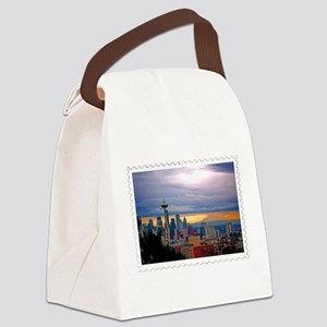 Seattle Skyline at Sunset Stamp Canvas Lunch Bag