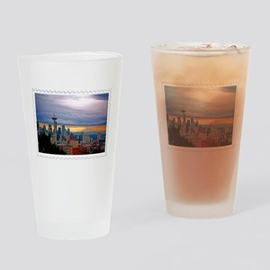 Seattle Skyline at Sunset Stamp Drinking Glass