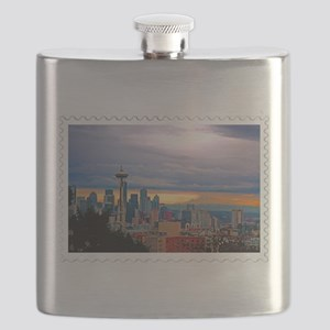 Seattle Skyline at Sunset Stamp Flask