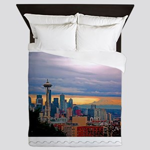Seattle Skyline at Sunset Stamp Queen Duvet