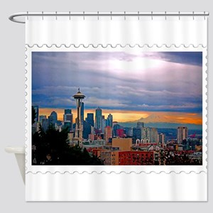 Seattle Skyline at Sunset Stamp Shower Curtain