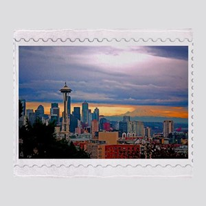 Seattle Skyline at Sunset Stamp Throw Blanket