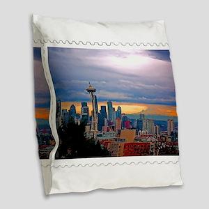 Seattle Skyline at Sunset Stam Burlap Throw Pillow