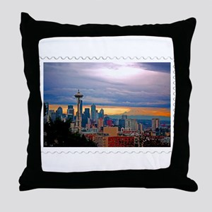 Seattle Skyline at Sunset Stamp Throw Pillow