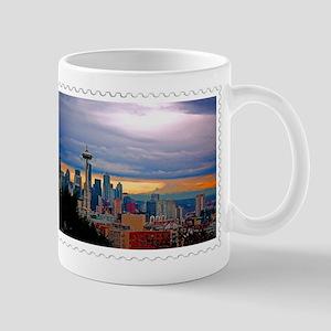Seattle Skyline at Sunset Stamp Mugs