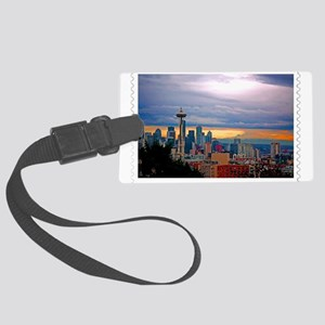 Seattle Skyline at Sunset Stamp Large Luggage Tag