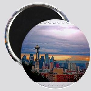 Seattle Skyline at Sunset Stamp Magnets