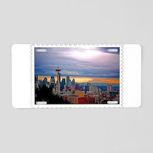 Seattle Skyline at Sunset S Aluminum License Plate