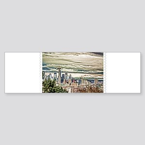 Seattle Skyline in Fog and Rain Sta Bumper Sticker