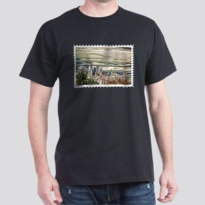 Seattle Skyline in Fog and Rain Stamp T-Shirt