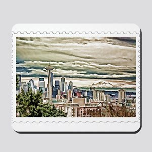 Seattle Skyline in Fog and Rain Stamp Mousepad