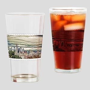 Seattle Skyline in Fog and Rain Sta Drinking Glass