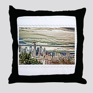 Seattle Skyline in Fog and Rain Stamp Throw Pillow