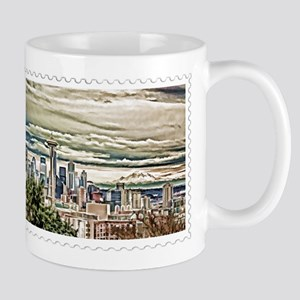 Seattle Skyline in Fog and Rain Stamp Mugs