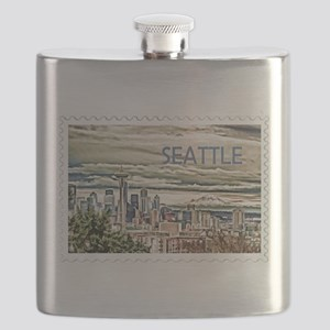 Seattle Skyline in Fog and Rain Stamp TEXT S Flask
