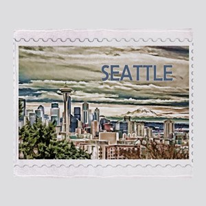 Seattle Skyline in Fog and Rain Stam Throw Blanket