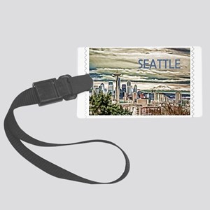 Seattle Skyline in Fog and Rain Large Luggage Tag
