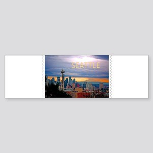 Seattle Skyline at Sunset Stamp TEX Bumper Sticker