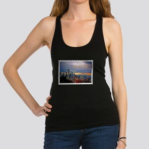 Seattle Skyline at Sunset Stamp Racerback Tank Top