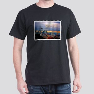 Seattle Skyline at Sunset Stamp TEXT SEATT T-Shirt