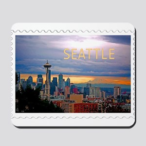 Seattle Skyline at Sunset Stamp TEXT SEA Mousepad