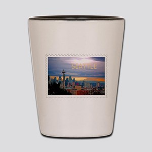 Seattle Skyline at Sunset Stamp TEXT SE Shot Glass