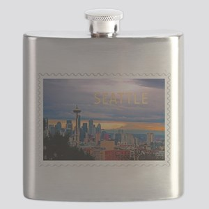 Seattle Skyline at Sunset Stamp TEXT SEATTLE Flask