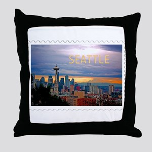 Seattle Skyline at Sunset Stamp TEXT Throw Pillow