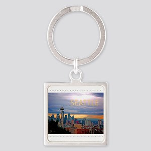 Seattle Skyline at Sunset Stamp Keychains