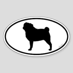 Pug Oval Sticker