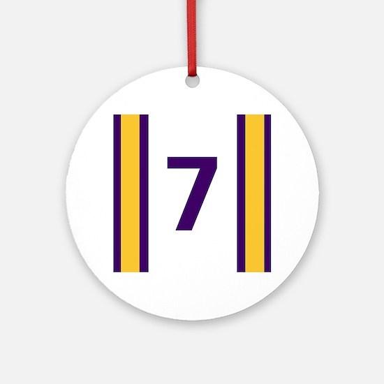 Purple and Gold Seven Round Ornament