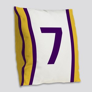 Purple and Gold Seven Burlap Throw Pillow