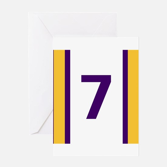 Purple and Gold Seven Greeting Cards