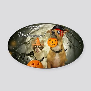 Happy Halloween Chihuahuas Oval Car Magnet
