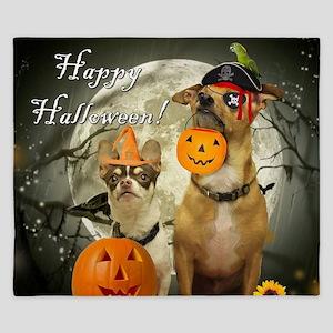Happy Halloween Chihuahuas King Duvet