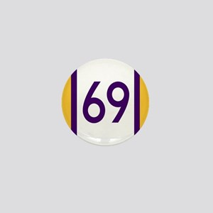 sixty nine purple and gold number Mini Button