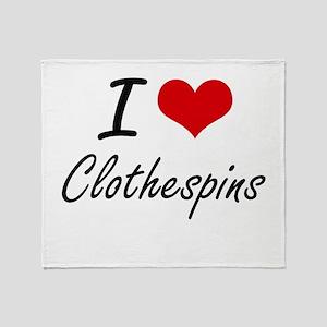 I love Clothespins Artistic Design Throw Blanket