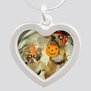 Halloween Chihuahuas Silver Heart Necklace